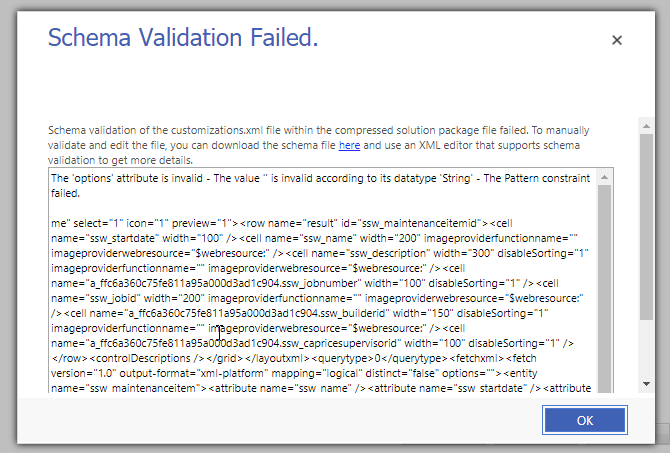 Unable to import solutions Dynamics 365 V9 1 (Error Code